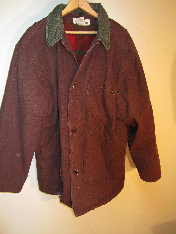 Vintage Mens Winter Car Coat Ll Bean Field Barn Brown Wool