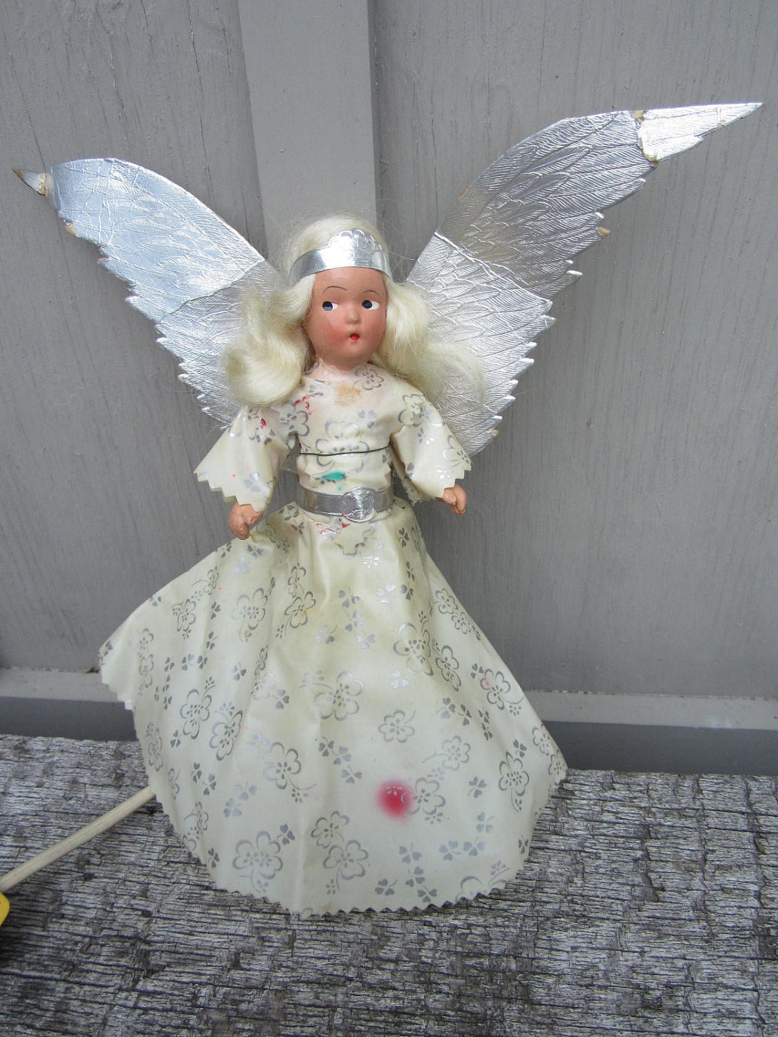 Vintage 1940s Chalkware Angel Christmas Tree Topper Light Up