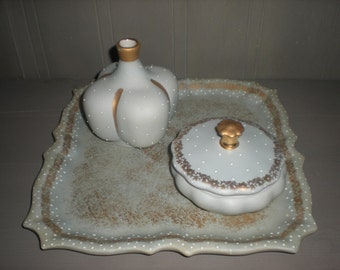 Sage Green De Hauteville Porcelain Vanity Tray with Powder Box and Perfume Bottle