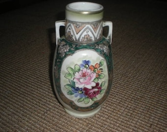 Japanese Floral Vase with Raised Gold Paint Detail
