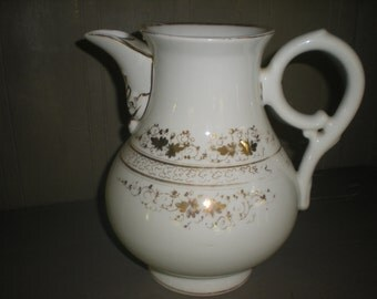 White and Gold Coffee Tea Pitcher