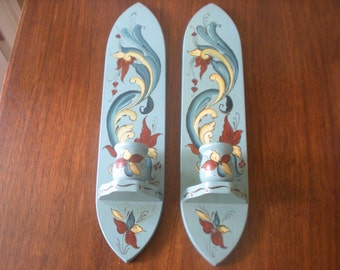 Blue Hand Painted and Signed Candle Sconces