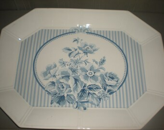 White Platter with Light Blue Stripes and Flowers