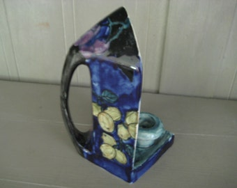 BlueTitan Ware Hand Painted Pottery Candle Holder