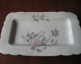 Two Platters with Pink and Grey Floral Decor