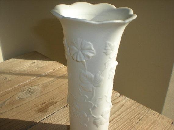 Bisque Ceramic White Vase with Flowers