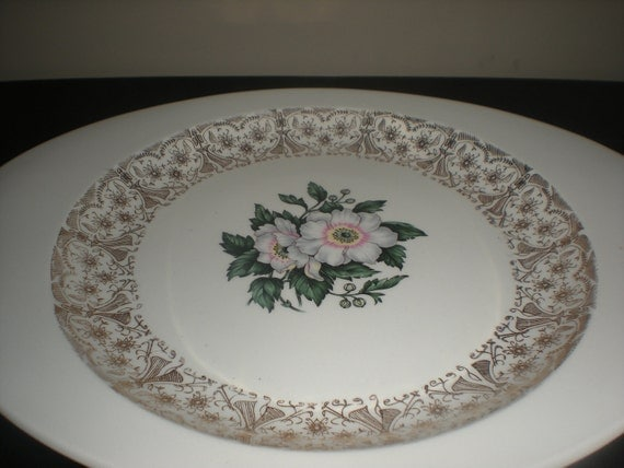 The Cronin China Co. Platter - Gold Trim Magnolia Flower