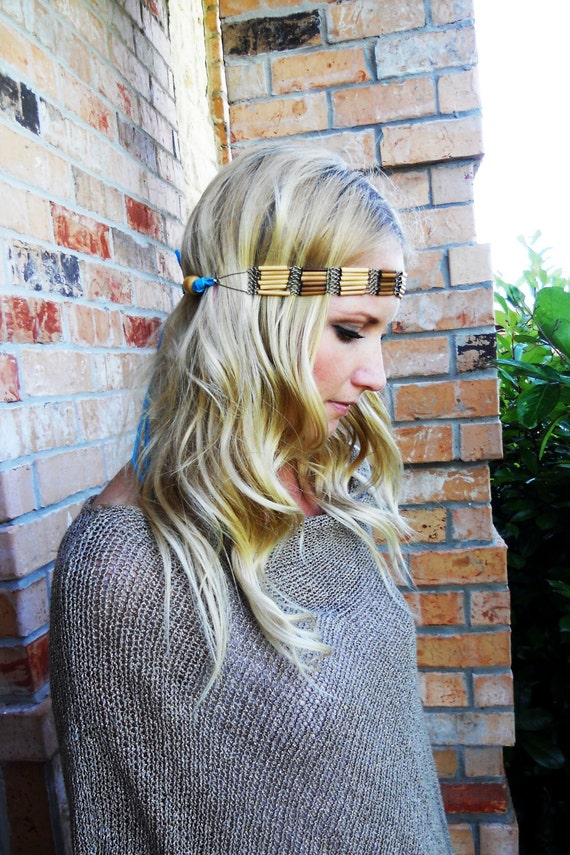 Bamboo headband with turquoise leather and wooden beads