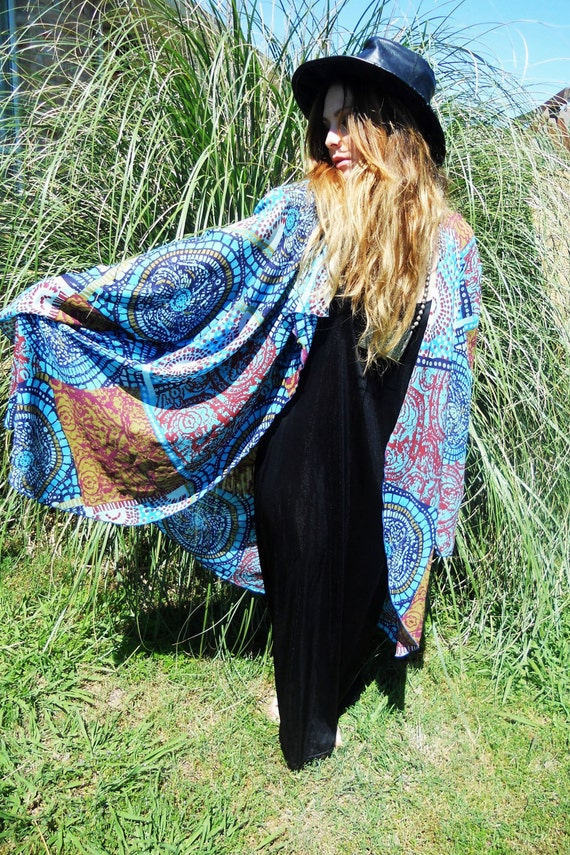 Lady Blue kimono duster jacket RESERVED for Kelsey