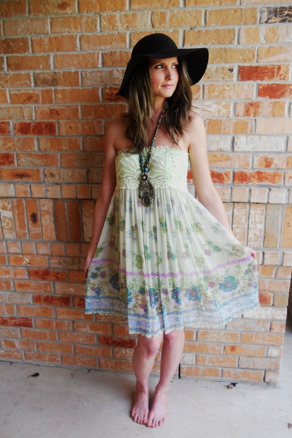 Light green strapless sheer with lace baby doll dress size sm