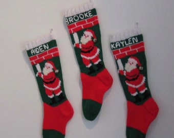 Personalized Knitted Christmas Stocking - Santa