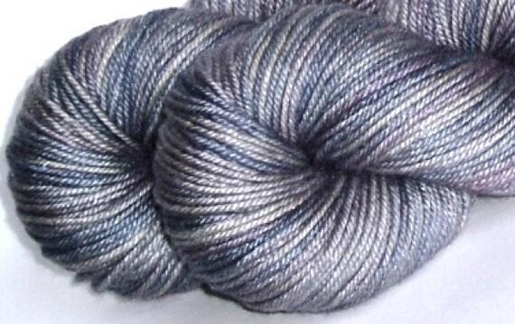 "Silky DK yarn ""Heavy Metal"" 50/50 superwash merino silk hand-dyed DK weight yarn"