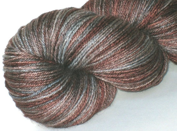 Sock yarn bfl/silk Salt and Pepper hand dyed 55/45 superwash blue faced leicester / silk sock / fingering weight yarn