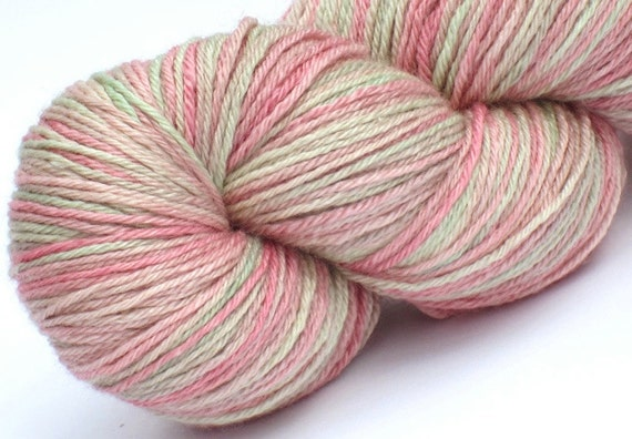 Bfl silk sock yarn Rosewater hand dyed fingering weight yarn 55/45 superwash blue faced leicester / silk