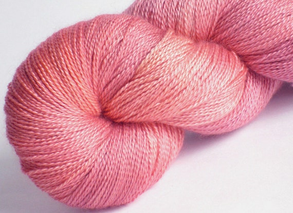 Lace yarn silk cashmere  Wild Wood Rose 60/40 silk/cashmere hand dyed luxury lace weight yarn