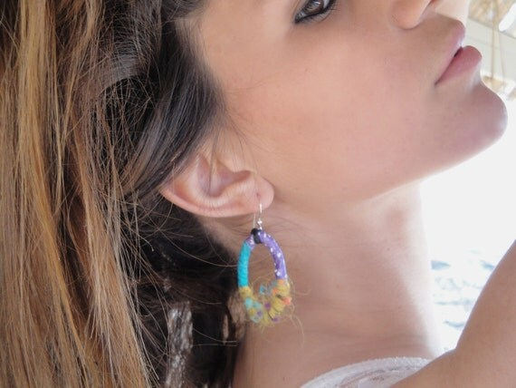 turquoise earrings combined with jaune and violet fiber on oval hoops,sterling silver wires,are you ready
