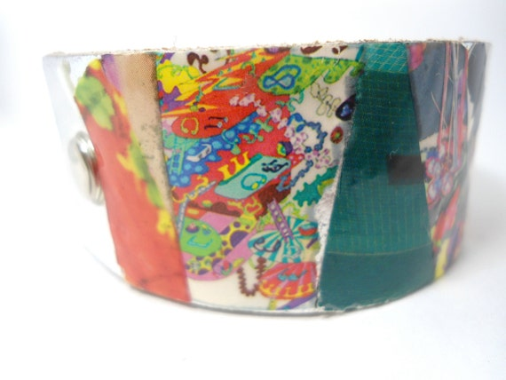 Cuff bracelet- leather picture bracelet with glass coating,UNISEX,leather Cuff - summer accessory- everyday bracelet