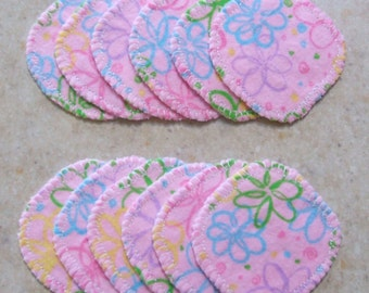Cotton Rounds 12 Pink Flowery Makeup Squares Washable Reusable