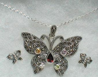 Marcasite Sterling Silver Butterfly Necklace and Earrings