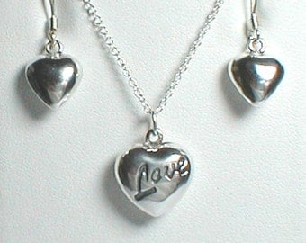"""Necklace and Earring Set - """"Love"""" Heart"""