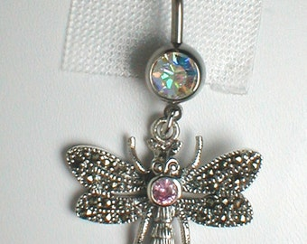 Unique Belly Ring - Sterling Silveer Marcasite Dragonfly