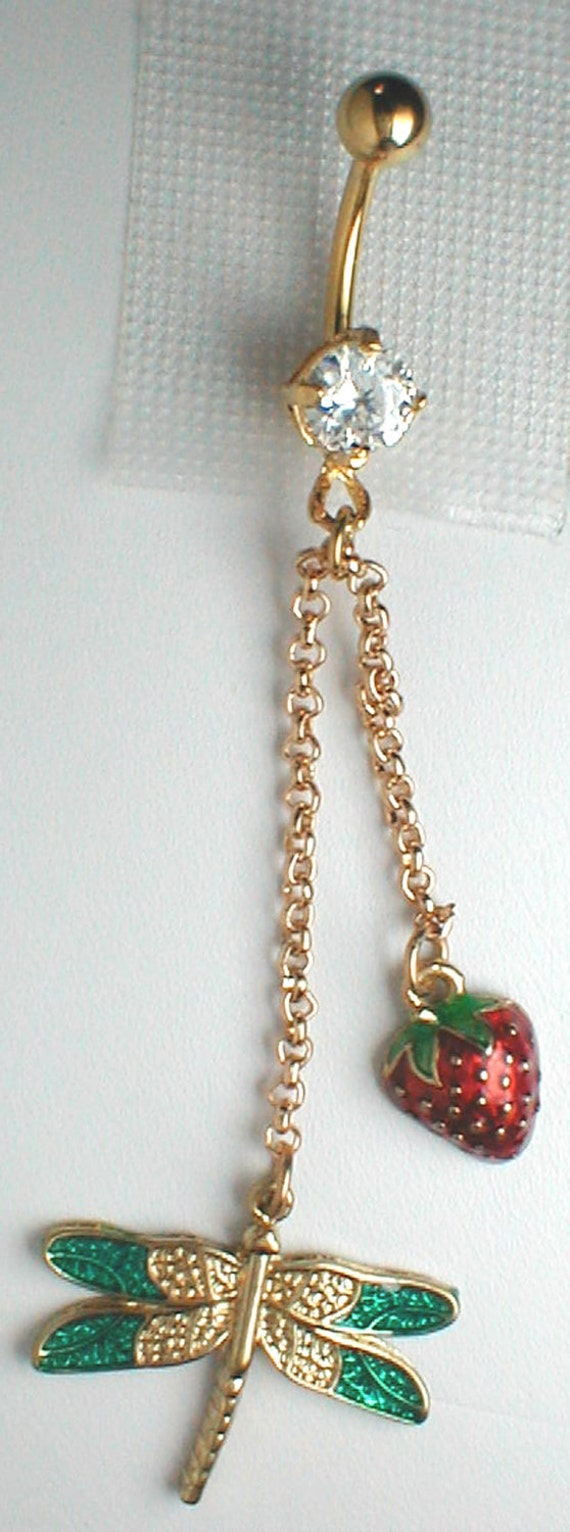 Unique Belly Ring - Betsey Johnson Dragonfly with Strawberry