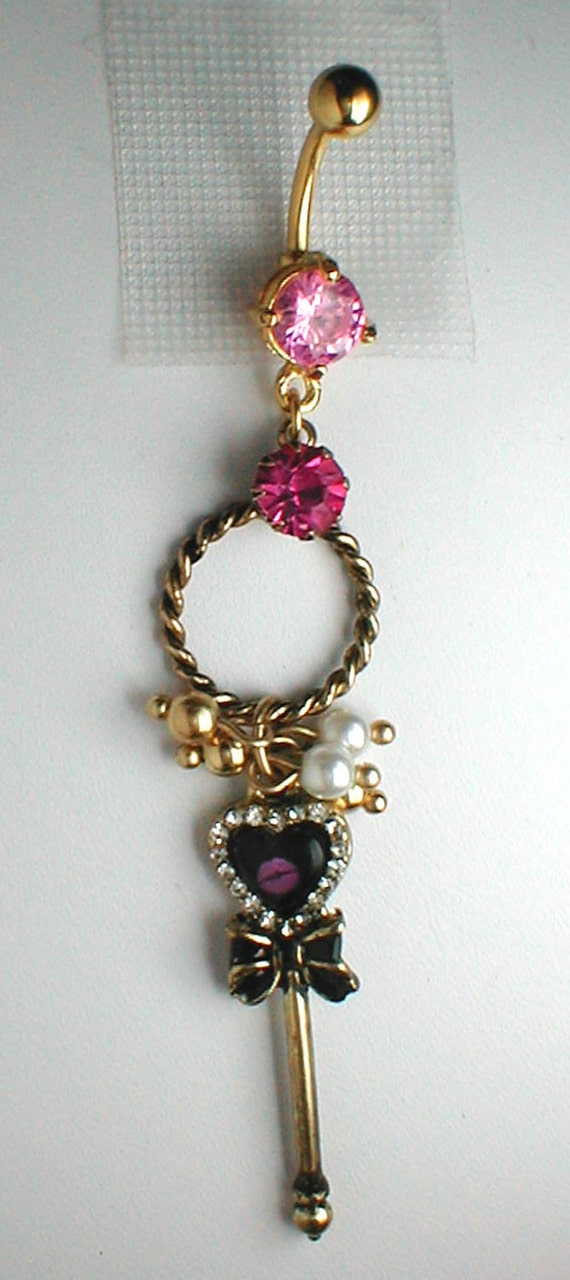 Unique Belly Ring -  Key from Engagement Series Pendant On Belly Ring