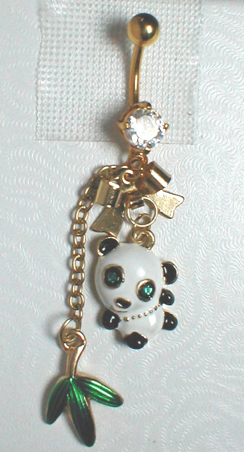 unique belly or navel ring panda pendant on a belly ring