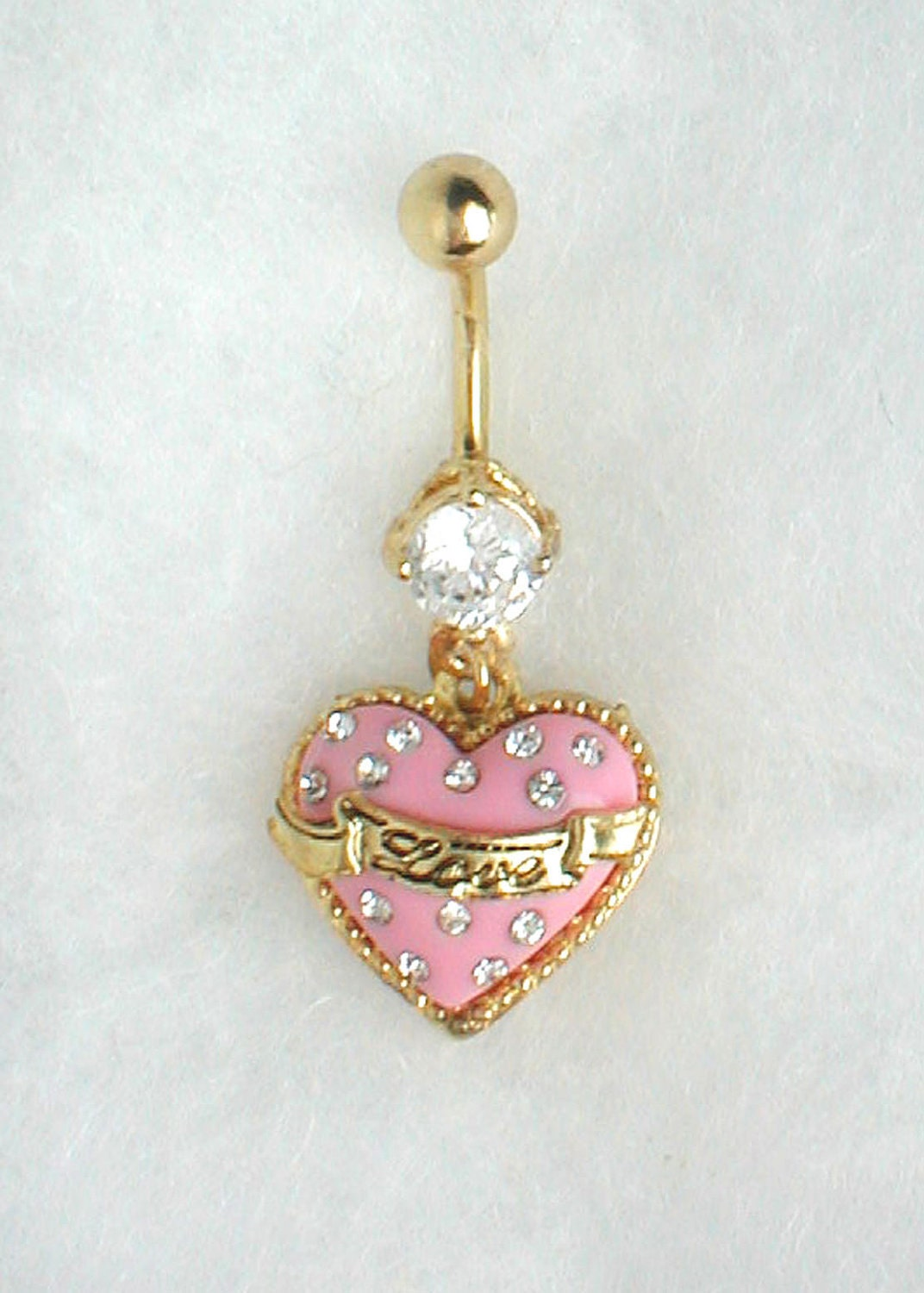 Unique Belly Ring Trendy Heart with Clear Stone