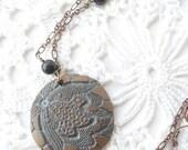 Antique Lace Pendant with Ceramic and Semi-Precious Stone Beads on Copper Colored Chain