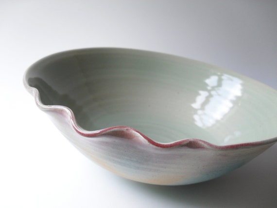 Serving Bowl in Natural Turquoise, Ochre, and Light Green - 10 % off