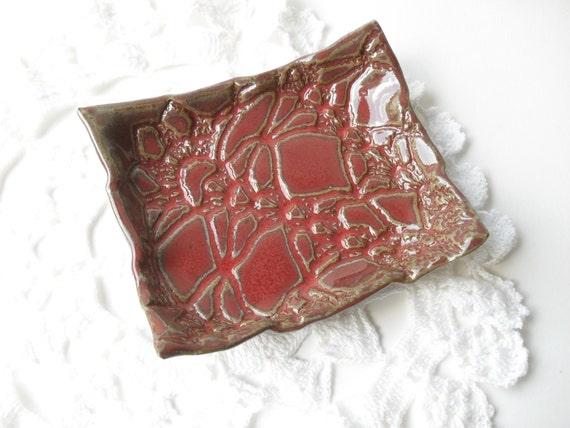 Little Lace Dish in Glossy Red, Textured with a Vintage Doily