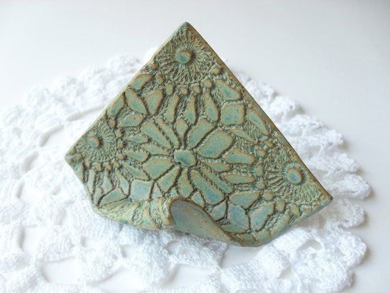 Card Holder in Soft Turquoise, Textured with Vintage Lace, Easel Shape