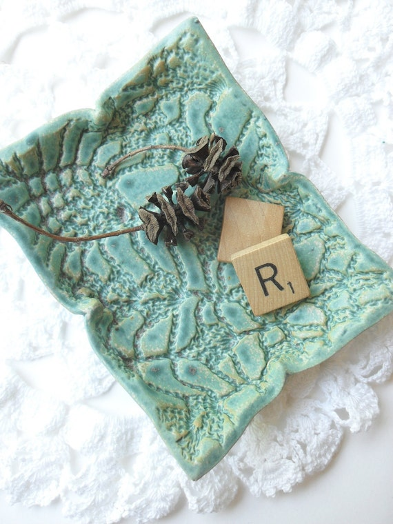 Little Dish in Light Blue Turquoise with Gray Speckles, Textured with Vintage Lace, for Soap or Trinkets