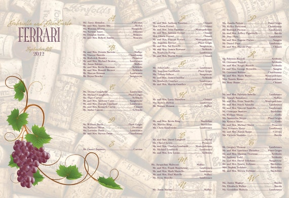 Wine theme names grapes wedding seating chart 24 hour turnaround DIY