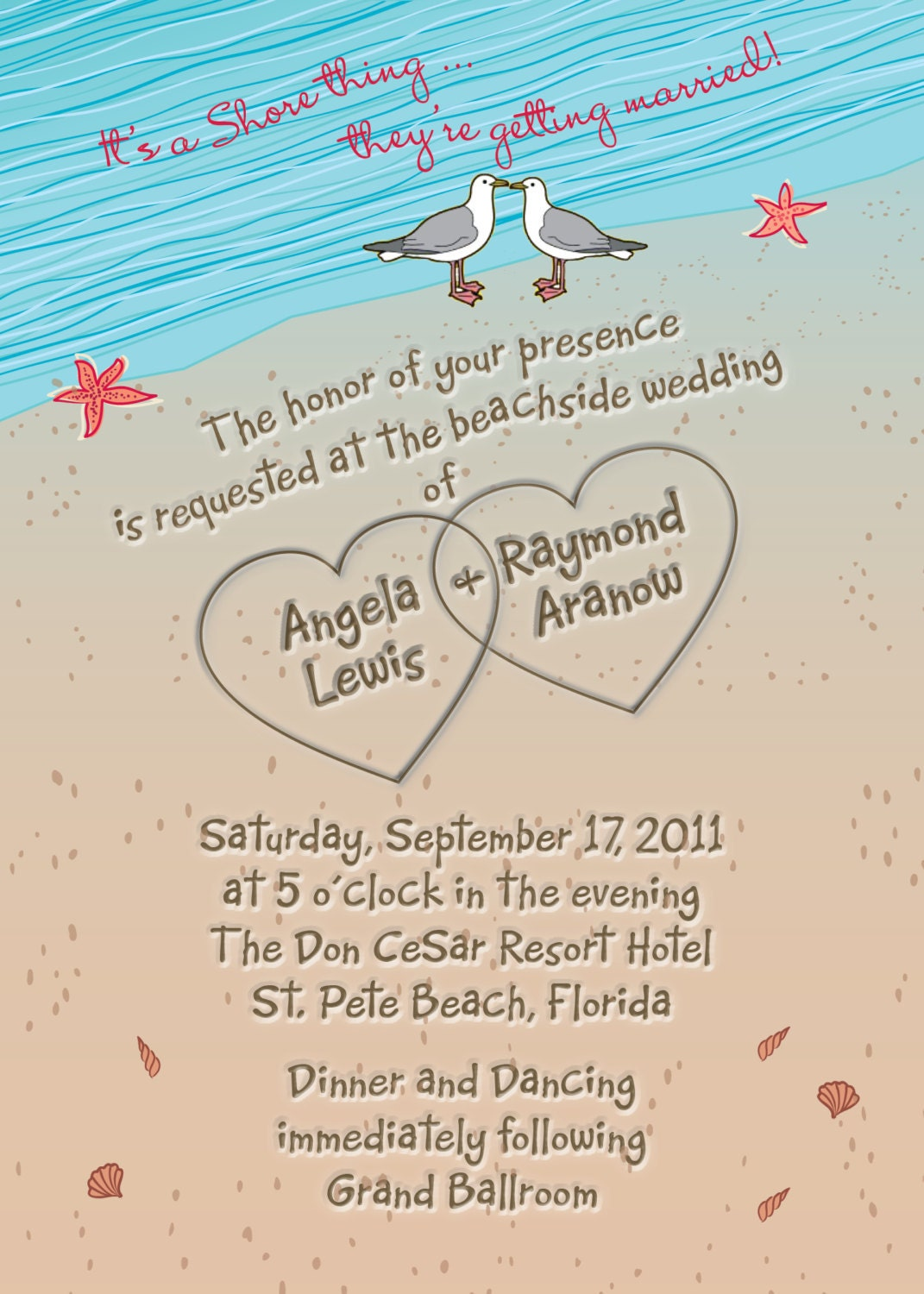 Beach Wedding Invitation With Hearts In Sand Seagulls And