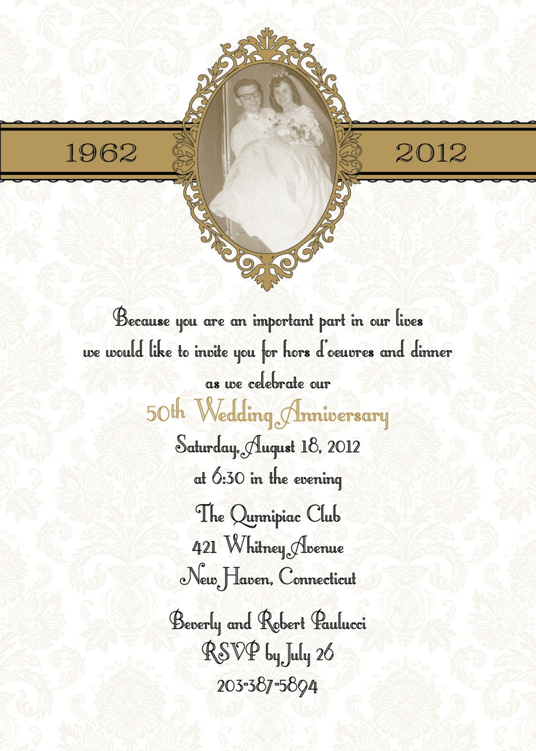 50th Wedding Anniversary Gifts Diy : Damask 50th or 25th anniversary wedding invitation DIY print