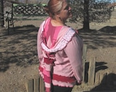RESERVED FOR KATSUN Upcycled Sweater Cashmere Pinks Raspberry Elf Hood 2x 3x Woman Women