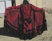 Upcycled Sweater Coat Valentines Roses Velvet Elf Duster Gypsy Traveler Crimson Twilight rose Rainbow Patchwork