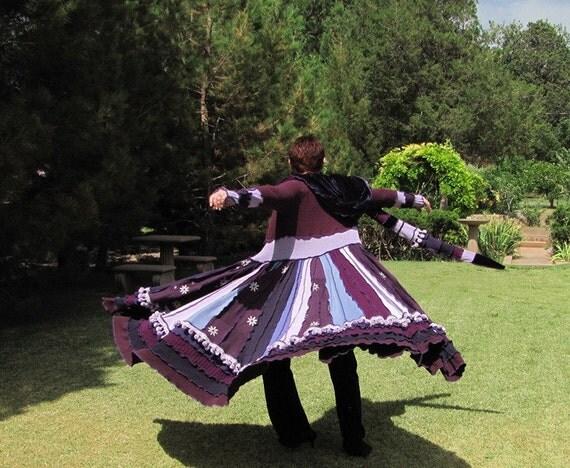 Upcycled Sweater Coat Duster  Elf Hood Womans Purple Violets Velvet RESERVED FOR YOLANDA