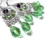 Green Chandelier Crystal Earrings
