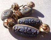 Blue and Brown Bracelet With Mixed Metals, Vintage Plastic, Earth Tones, European Style Glass Beads