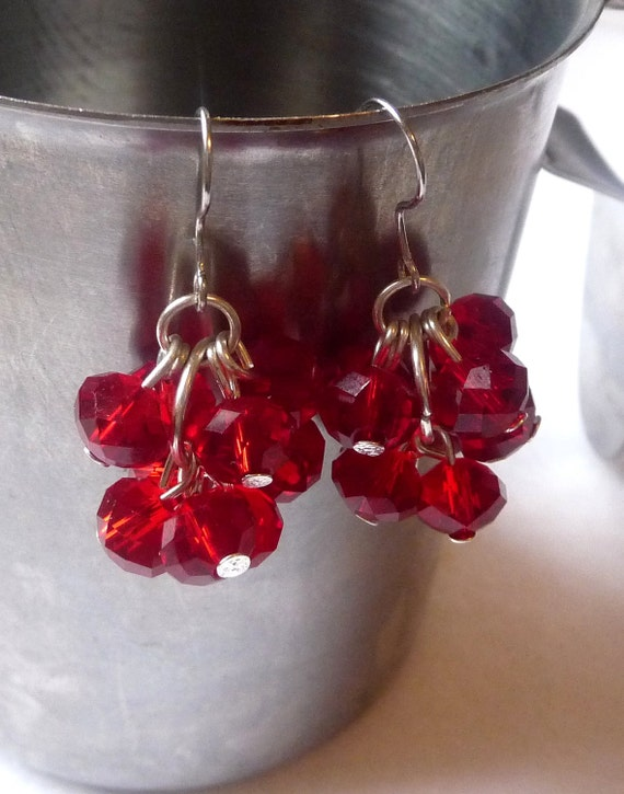 Red Glass Cluster Earrings