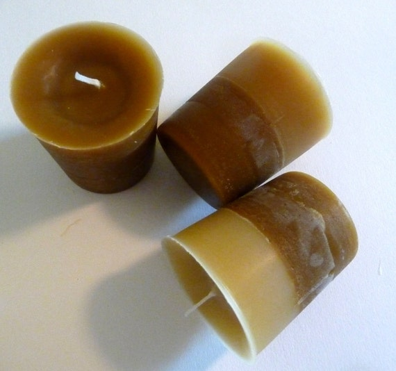 Warm Vanilla Nutmeg, 3 Highly Scented Voitves, Brown and Beige Candles