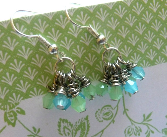 Seafoam and Aqua Pastel Glass Bicone Earrings, Tiny and Petite