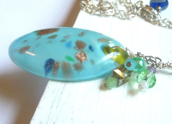Blue Glass Necklace With Green Bead Accents, OOAK