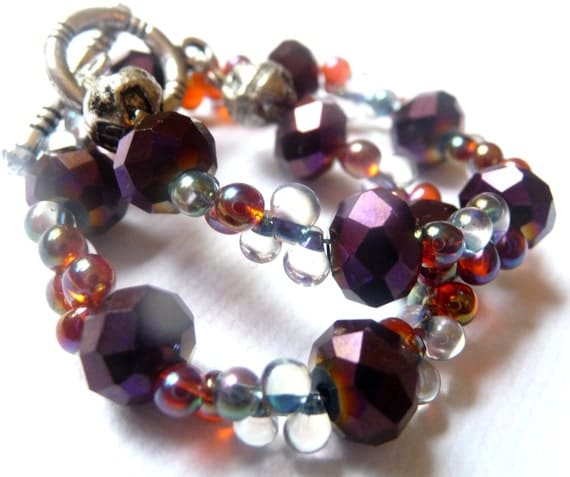 Purple Glass Bracelet With Clear and Amber Teardrop Beads