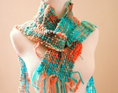 RESERVED for UZMA - Turquoise Coral Alvantine Scarf, neck accessory, hand woven with fringe - Venus and Mars