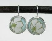 Elegant Blossom Blue and Gold Flower Dangle Earrings