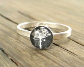 Queen Anne's Lace Ring - Black White and Silver